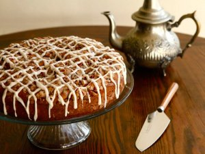 A traditional meal and record for Sour Cream Coffeecake from food historian Gil Marks on record kitchen area
