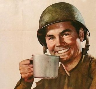 vintage soldier gi consuming coffee from tin mug